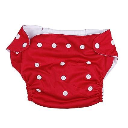 EOZY Bañador Pañal De Tela Algodón Y TPU Para Bebé Ajustable Rojo
