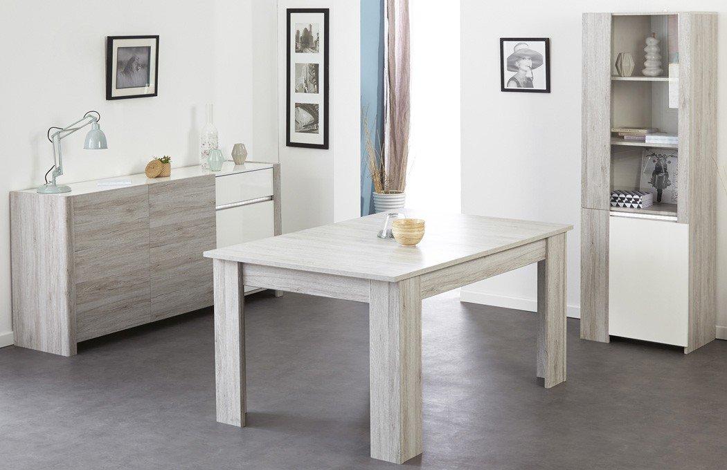 Esszimmer Luena 6 Portofino grau weiß Hochglanz Esstisch Vitrine Sideboard Wohnzimmer Esszimmertisch Tisch Glasvitrine Anrichte