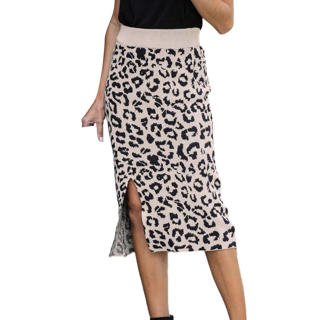 SHUSUEN Women's Elastic Waist Stretch Bodycon Knee Length Leopard Print Pencil Skirt Beige by SHUSUEN