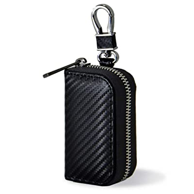 Keys and Car Key Fob Faraday Blocking Organizer Bag with Die-Casting Aluminium Strong Hook and Zipper Vehicle Fob FRID Blocker Luxury Black PU Leather Holder Box: Automotive