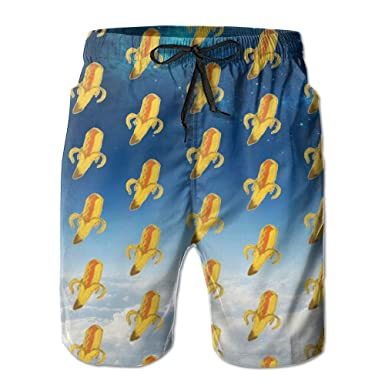 d3ce6c0df4e Image Unavailable. Image not available for. Color: HXXUAN Men's Beach  Shorts Swim Trunks Hot Dog Banana Board ...
