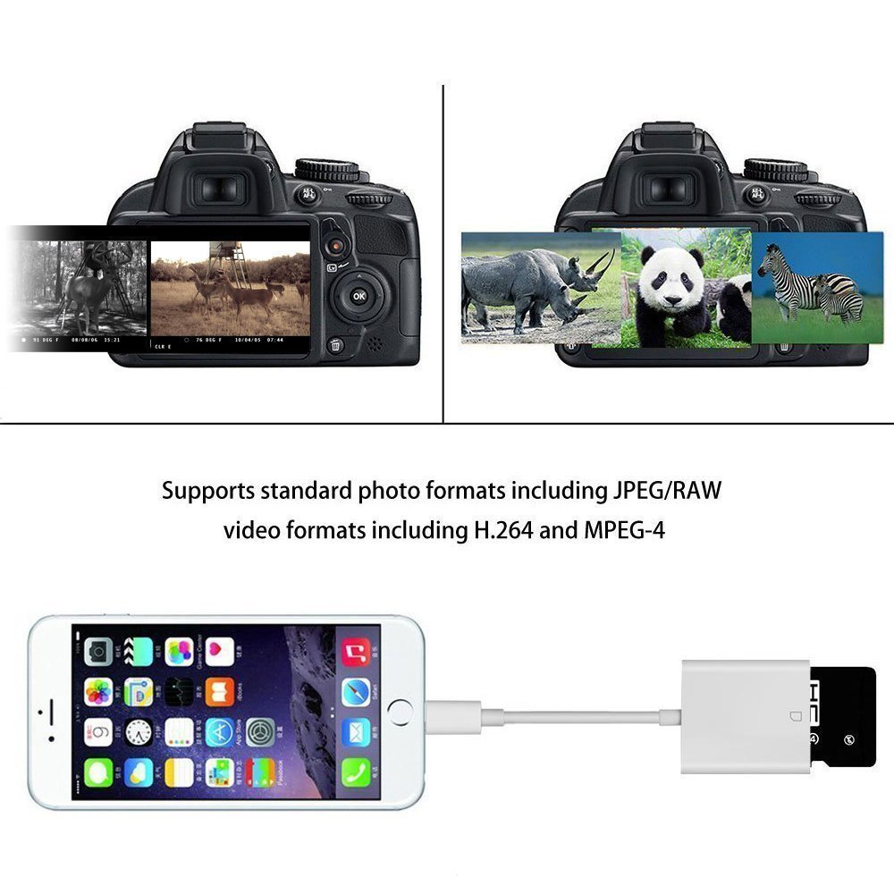 Lightning to SD Card Camera Reader, Certified Tail Camera Card Reader for Hunting for Apple iPhone / iPad (UPGRADED VERSION) - White by Power Gadgets ⚡ (Image #4)
