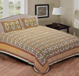 Ridan Traditional Abstract Design Cotton Double Bedspread Sheet w/ 2 Pillow Covers/Tribal Ethnic Wall Hanging Tapestry Bedding/Indian Trendy Jaipuri Pattern Meditation Duvet Throw-Green