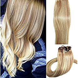 Real Human Hair Extensions Blonde 20 inches 70g Clip on for Fine Hair Full Head 7 pieces Silky Straight Weft Remy Hair