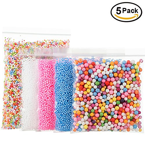 : Foam Beads for DIY and Slime Supplies – Craft Styrofoam Balls 0.1-0.35 inch(31000pcs) for Kids Homemade Slime, Home Decorative, Wedding and Party Decorations (5 Pack)