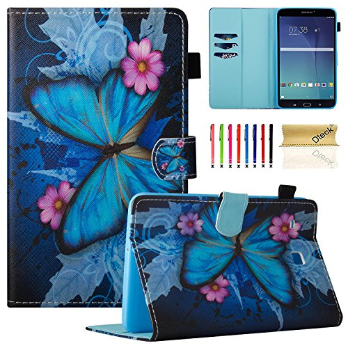 Tab E 8.0 Case, Samsung SM-T377a Case, Dteck PU Leather Flip Stand Case [Card Holder] Wallet Case Cover for Samsung Galaxy Tab E T377/T375 8.0 Inch Lite Series Tablet-Butterfly&Flower
