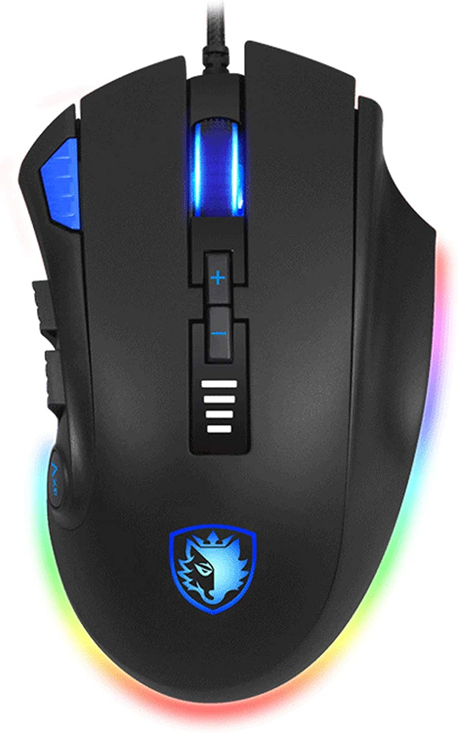 SADES Axe Gaming Mouse: 12 Programmable Buttons, RGB Backlit, 6 DPI Adjustable Levels, Comfortable Grip Ergonomic Optical Sensor PC Computer Gaming Mice with Wired Braid USB Cables