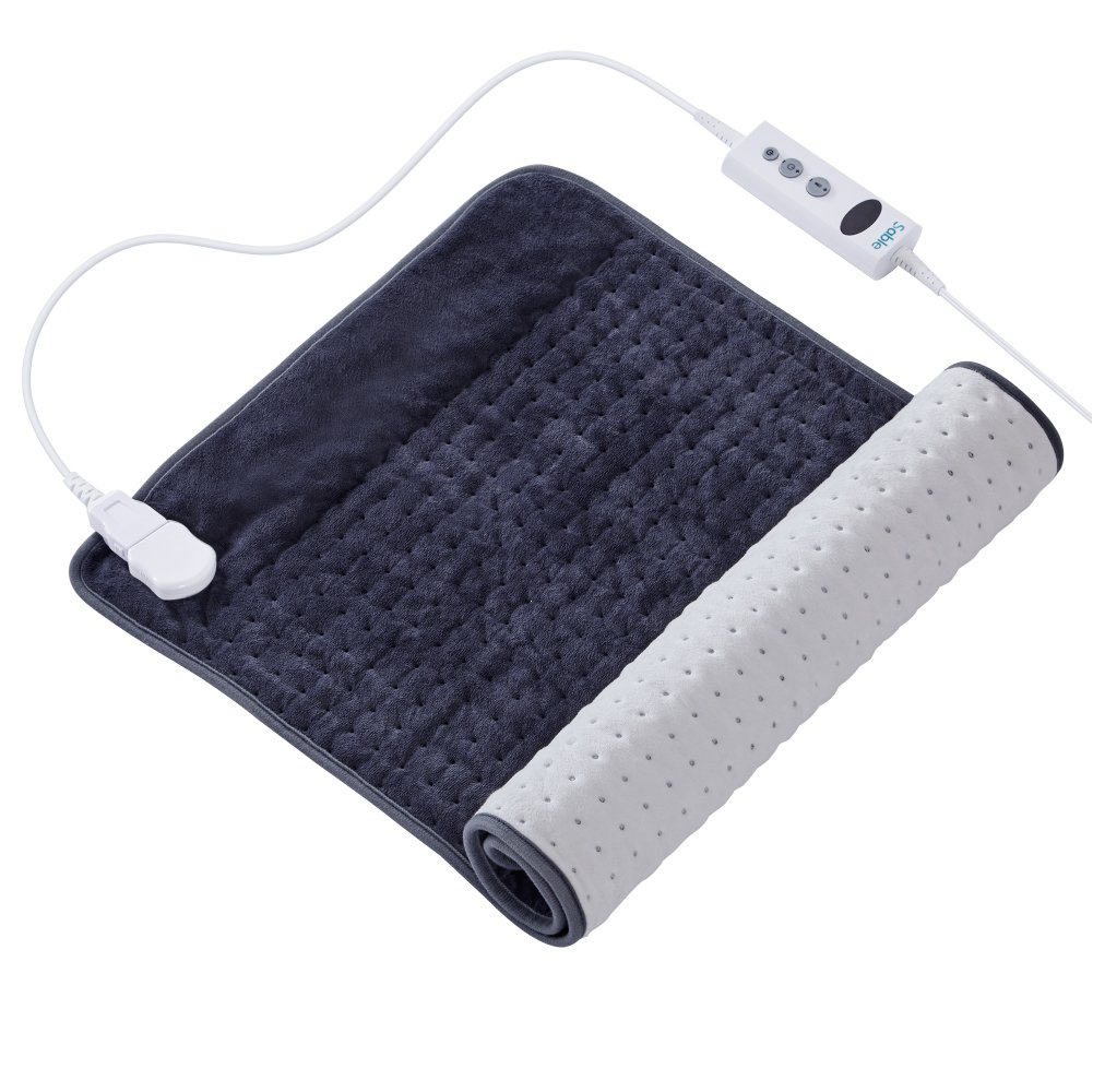 XXX-Large Heating Pad with Auto Off, FDA Registered, 10 Electric Temperature Settings, Super Soft Micro Plush, Moist Therapeutic Option, Pain Relief, Dark Gray Sable SA-BD023