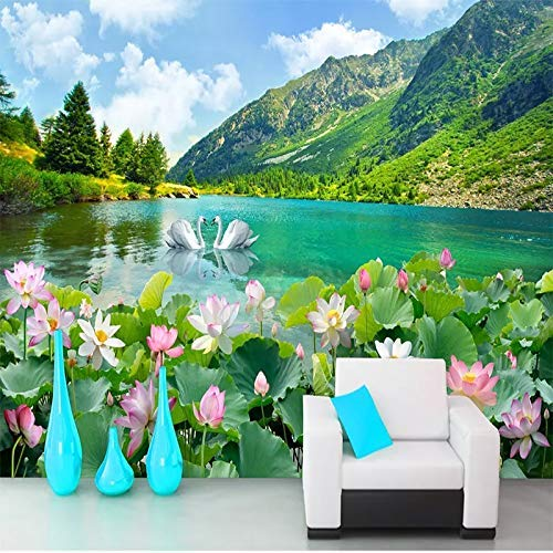 GONGFF Photo Wallpaper Mountain Swan Lake Natural Landscape 3D Wallpaper Bedroom Living Room Sofa Tv Background Wall Decoration