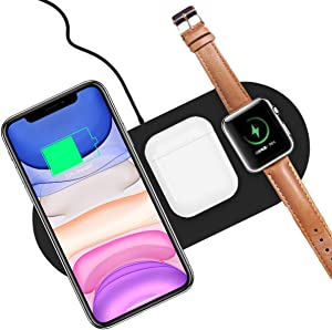 AICase Qi Wireless Charger,3-in-1 Charging Pad for Air Pods Apple Watch Series 5/4/3/2/1 iPhone 11/11 Pro/11 Pro Max/XR/X/8 Galaxy Note10/9 and More Devices Wireless Charger Dock (Black)