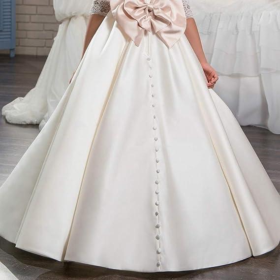 Vestidos formales de fiesta Vestido de boda de la etapa Flor de satén de la vendimia Vestido de novia de la muchacha de encaje clásico pajarita Tutu Fiesta ...