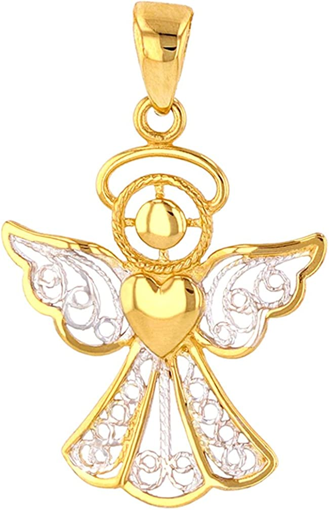 14k Gold Polished Cut-out Angel Pendant New Religious Charm Yellow Gold