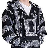 Orizaba Original Baja Hoodie Drug Rug - Black & White Zigzag - Zicatela M