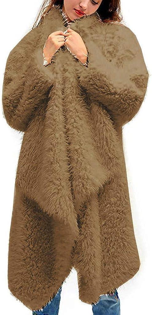 Women Casual Long Sleeve Plush Open Front Cardigan Jacket Coat Long Outwear Top