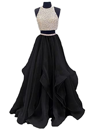 a8576f23fb Dressytailor Two Piece Floor Length Organza Prom Dress Beaded Evening Gown
