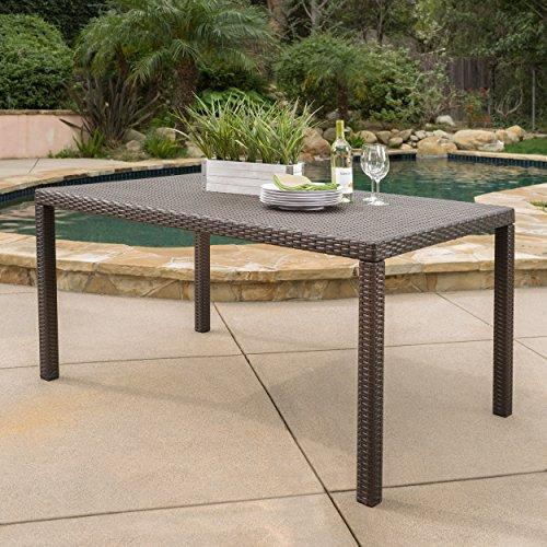 Edene Outdoor Multibrown Wicker Rectangular Dining (Rectangular Wicker Table)