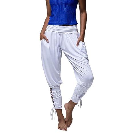 Pantalones Casuales Mujeres SUNNSEAN Pantalón de Yoga Ropa Deportiva con Cordones Vendaje Pantalones de Cintura Elásticos Ocasionales Sólidos Leggings ...