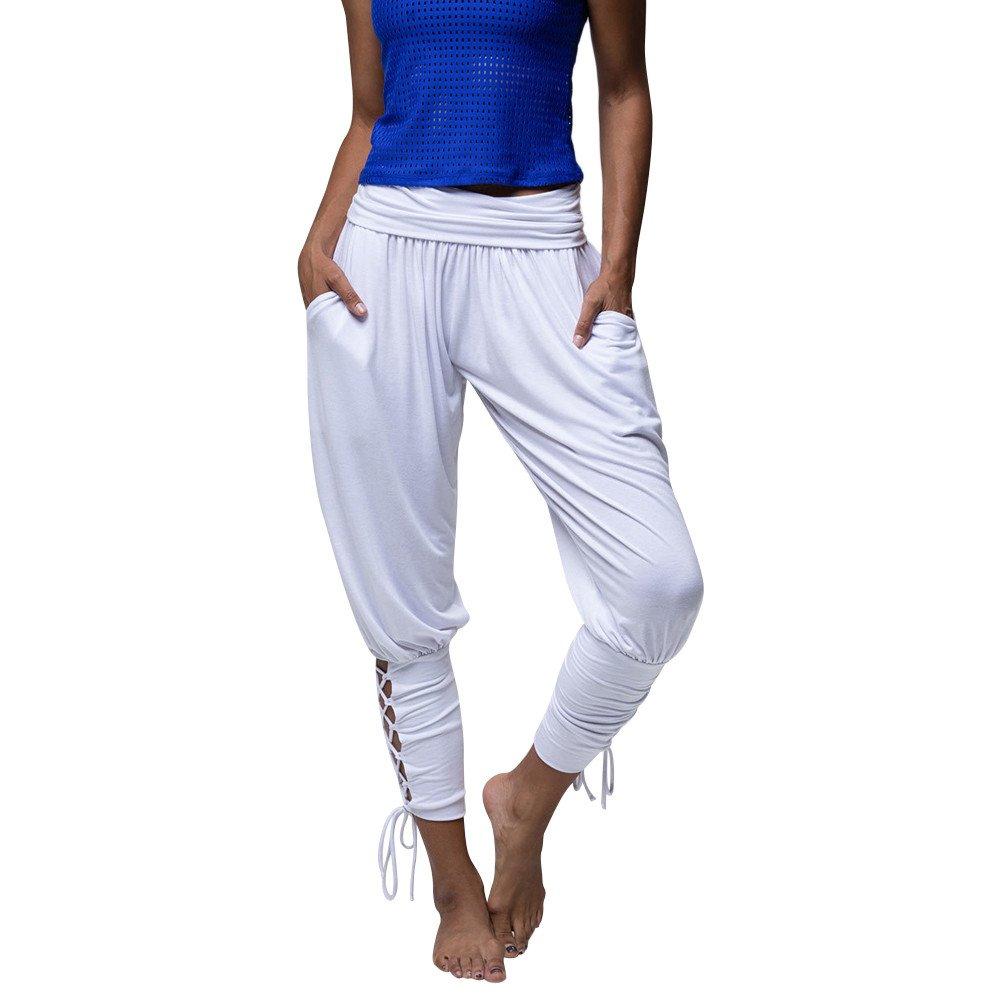 SUNNSEAN Pantalones Pantalones Casuales Mujeres Yoga Ropa Deportiva con Cordones Vendaje Pantalones de Cintura El/ásticos Ocasionales S/ólidos Leggings