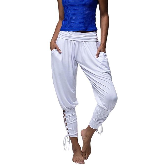 eca00a56cb7f SUNNSEAN Pantalones Pantalones Casuales Mujeres Yoga Ropa Deportiva con  Cordones Vendaje Pantalones de Cintura Elásticos Ocasionales