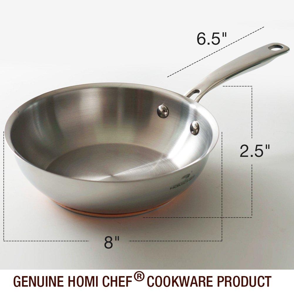 Homi Chef Juego de cocina de acero inoxidable pulido banda de cobre ...