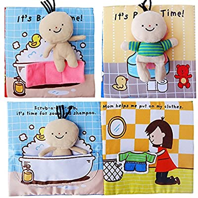 zhenyu Cloth Book Quiet Book Baby Soft Books Cartoon Small Dolls Story Toddler Educational Toy for Boys and Girls Touch and Feel Activity (b): Toys & Games