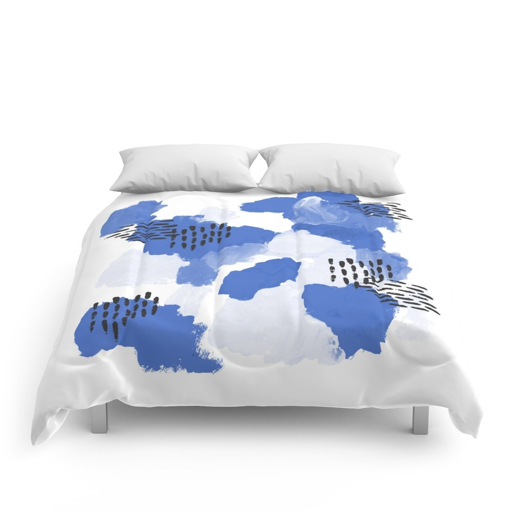 Society6 Painted Blue Abstract Monochromatic Minimal Modern Art Painting Dorm College Gender Neutral Design Comforters King: 104'' x 88''
