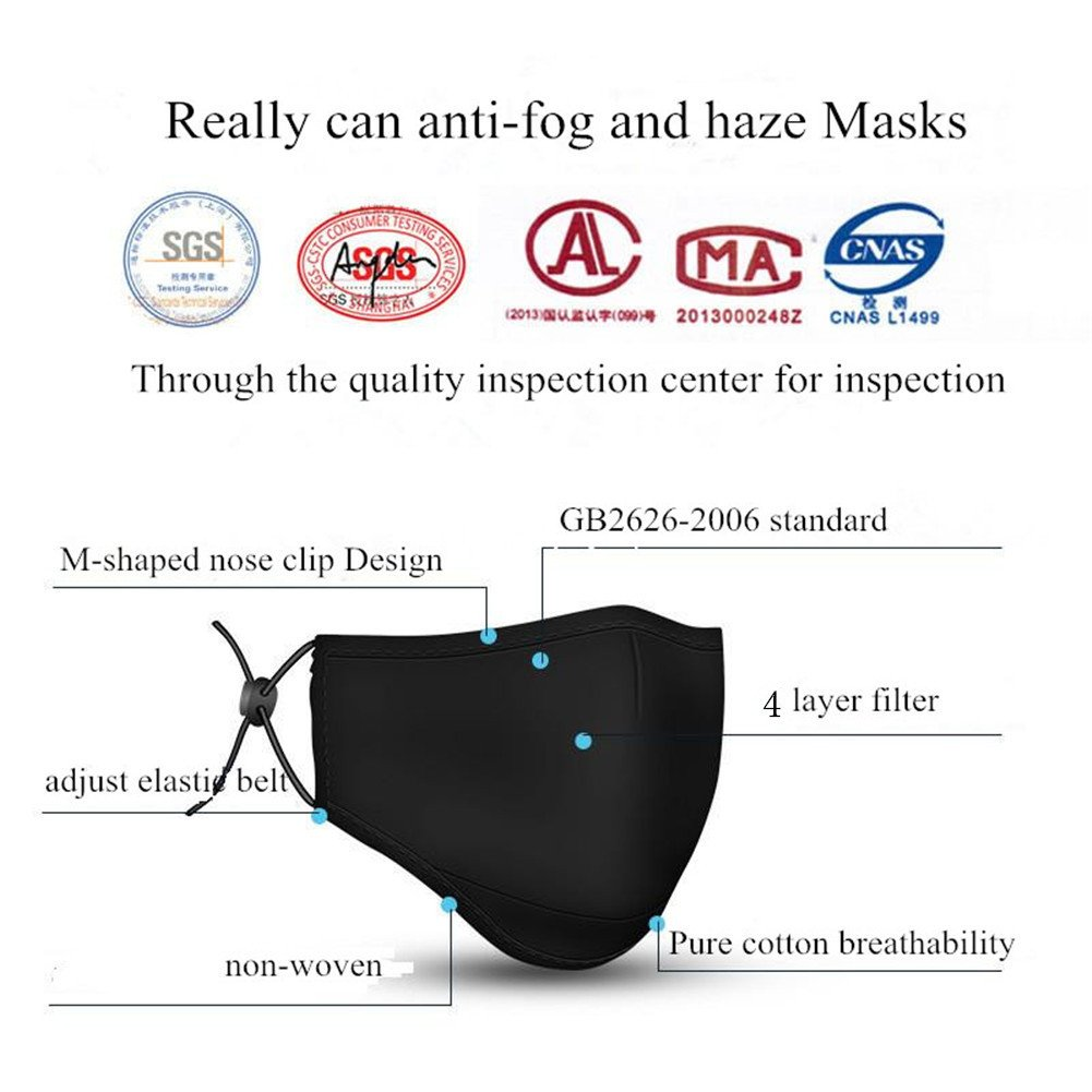 ZWZCYZ N95 Mask Dust Mask Anti Pollution Mask PM2.5 4 Layer Activated Carbon Filter Insert Can Be Washed Reusable Pollen Masks Cotton Mouth Mask for Men Women (Medium(Women's), Black) by ZWZCYZ (Image #2)