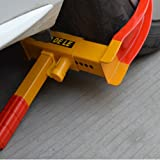 Flexzion Wheel Lock Clamp Anti-theft Towing Parking Boot Tire Claw Heavy Duty Adjustable for Auto Car Truck Rv Boat Trailer Automotive Golf Carts with Three Keys in Red & Yellow