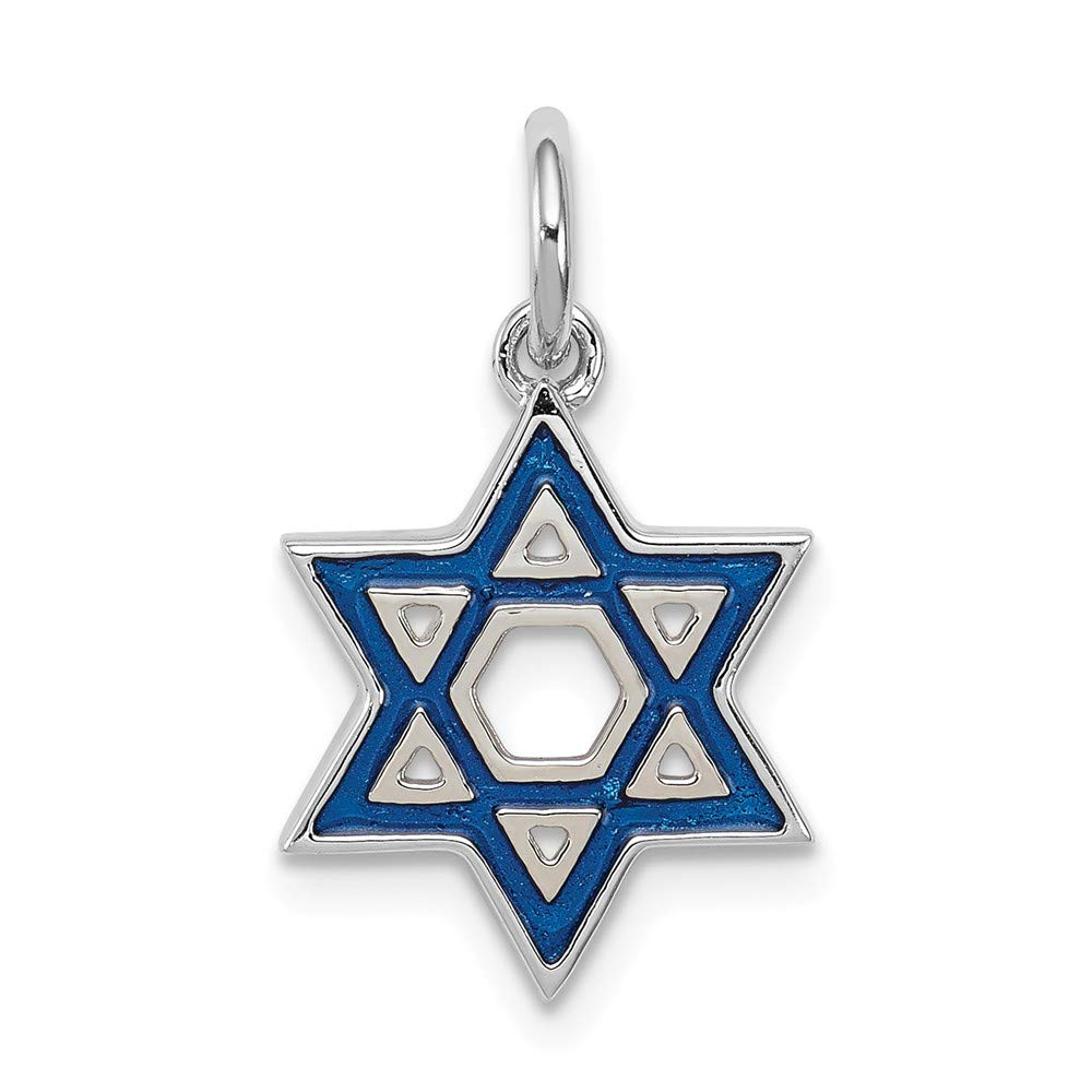 Mireval Sterling Silver Anti-Tarnish Treated Enameled Blue Star of David Charm