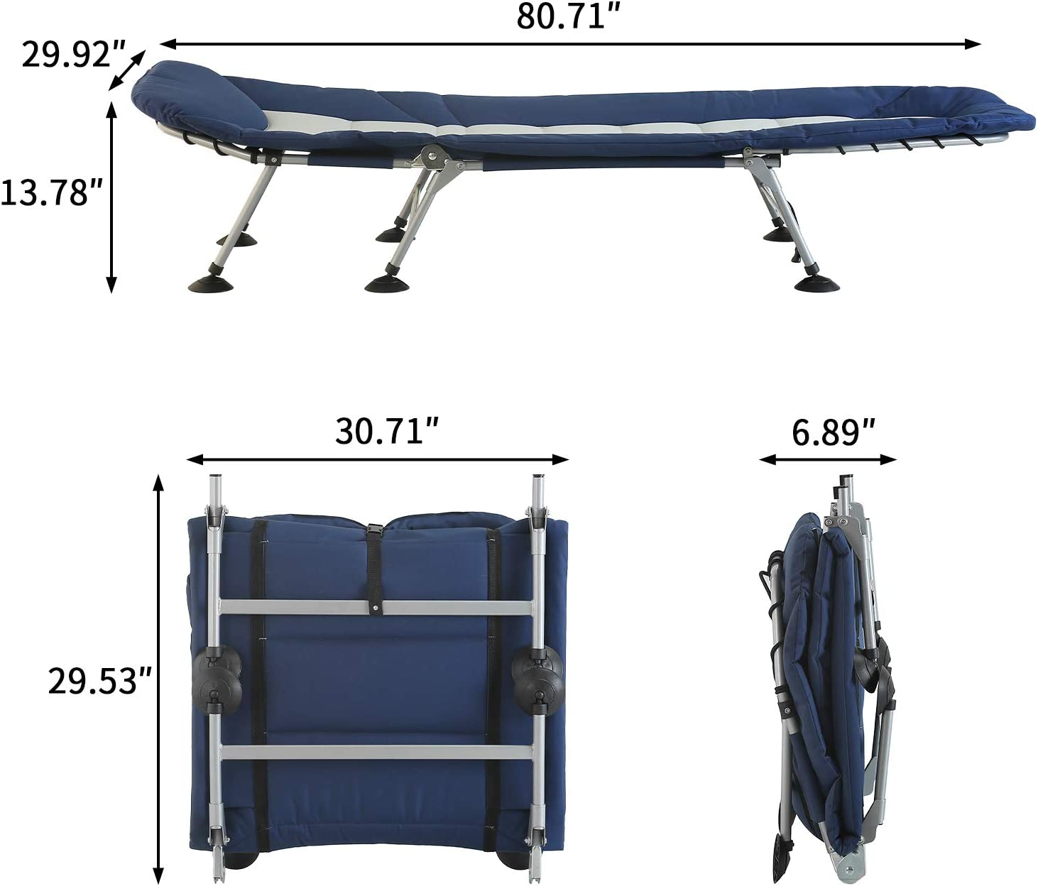 Indoor/&Outdoor Recliner for Travel Blue and Grey AbocoFur Folding Portable Camping Cot for Adults 500lbs Office Utility Adjustable Sleeping Bed with Strong Steel Frame and 600D Oxford Fabric