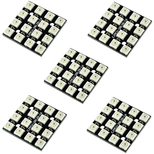 Optimus Electric 5pcs 4x4 RGB Addressable LED Matrix WS2812 Module up to 256 Level of Brightness with Possibility of Chaining from by Optimus Electric
