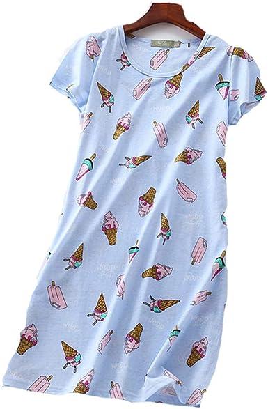 Pijama Mujer Verano Algodon Manga Corta Vestido De Dormir ...