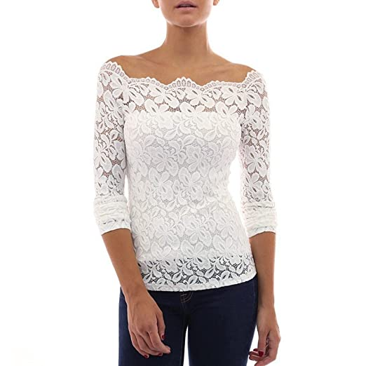 a9a4d796c HGWXX7 Women Tops Long Sleeve Sexy Lace White Boat Neck Casual Blouse  T-shirt