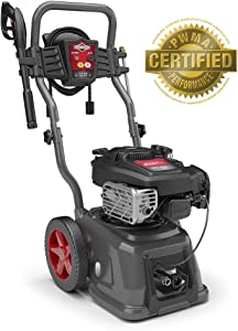 Briggs & Stratton Gas Pressure Washer 3100 PSI 2.5 GPM with Quiet Sense Technology and 30' Hose, 4 Nozzles & Detergent Tank