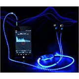 Z-Comfort Visible Flowing Glow LED Dynamic Flashing Lights Up In-ear Headphone Earphones Sport Stereo Handsfree Headset Earbud with Microphon Sync