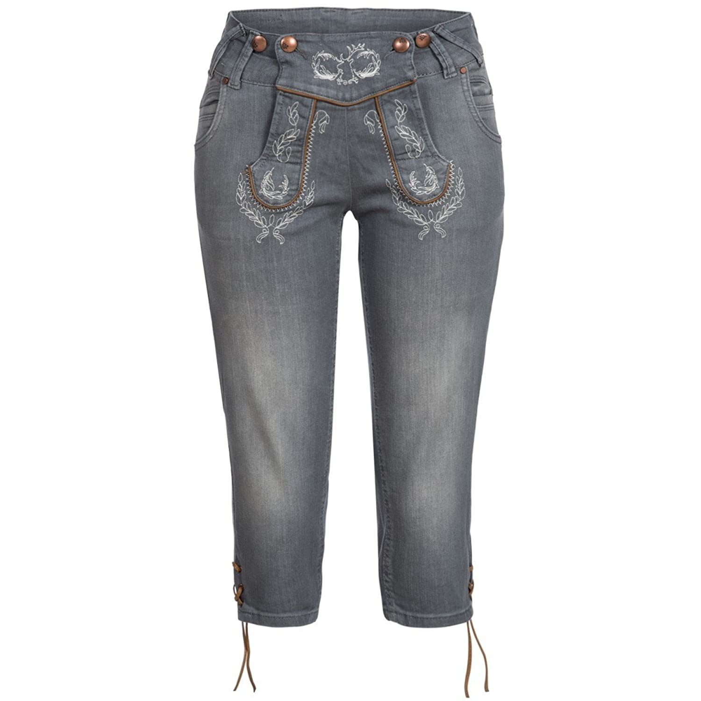 Jeans-Kniebundlederhose Anni in Grau von Hangowear