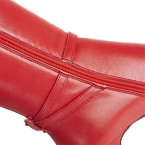 Nine Seven Genuine Leather Women's Pointed Toe Stiletto Heel Buckle Zip Knee High Handmade Boot (8, red) by Nine Seven (Image #8)'