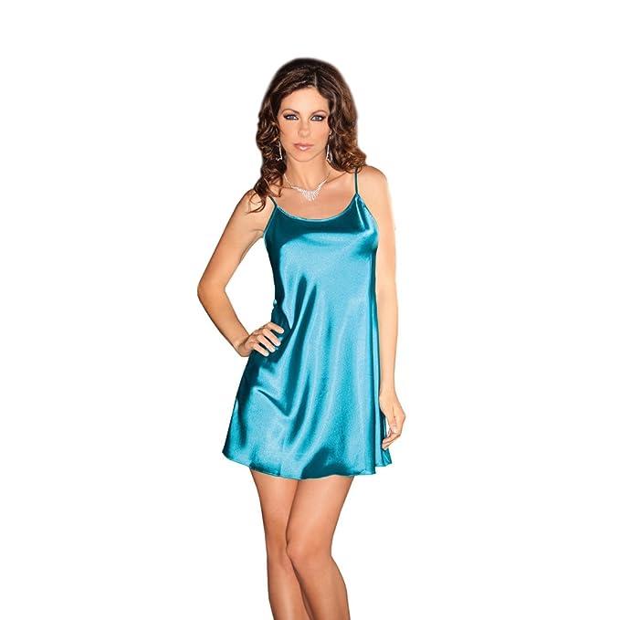 Hot Sexy Mujeres satén albornoz pijamas lencería íntima Nightdress Gstring pijama