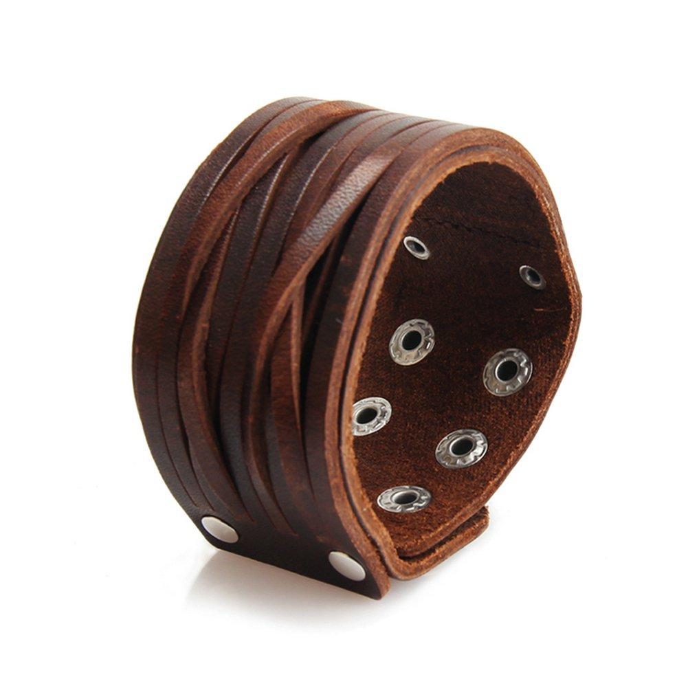 Jenia Brown Leather Bracelet Mens Cuff Bracelets Wrappend Bangle Handmade Braided Wristband Punk Jewelry for Boys, Kids, Women, Girls by Jenia (Image #2)