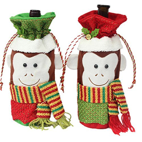 [EFINNY 2pcs Christmas Dinner Party Decor Monkey Champagne Wine Bottle Bags Red Wine Gift Cover] (Homemade Monkey Costumes For Babies)