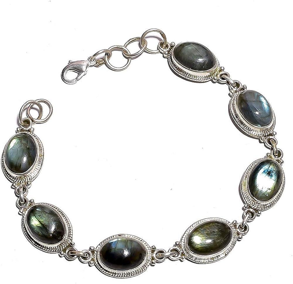 Mughal Gems & Jewellery colección Pulsera de Piedras Preciosas de labradorita Natural de Plata de Ley 925, Pulsera de Piedras Preciosas de Plata, Pulsera de 9 Pulgadas para Mujeres y niñas