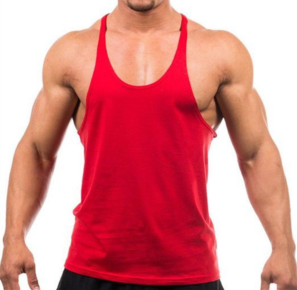 b0b0c0502bea4 Q.Y.Fashion Mens Cotton Blank Stringer Y Back Workout Gym Tank Tops