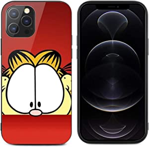Garfield for iPhone 12 Glass case Anti-Scratch Shockproof Cover Protective Case for iPhone 12/12 pro max case, Protective Compatible with for iPhone 12Pro