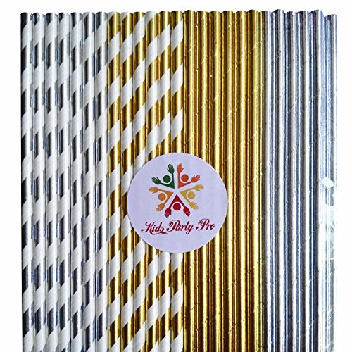 100 pcs Mixed Metallic Gold Silver Foil Paper Straws, Shimmer Golden Silver Striped Solid Plain Beverage Paper Drinking Straws Bulk, Wedding Christmas Holiday Party Baby Bridal Shower