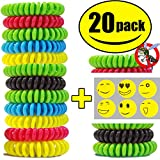 STURME All Natural Mosquito Repellent Bracelets Best Bug Insect Wrist Band Travel Personal Protection Non Toxic No Deet Safe Pest Control For Kids Adults Outdoor Camping Traveling (Assorted 20 Pack)