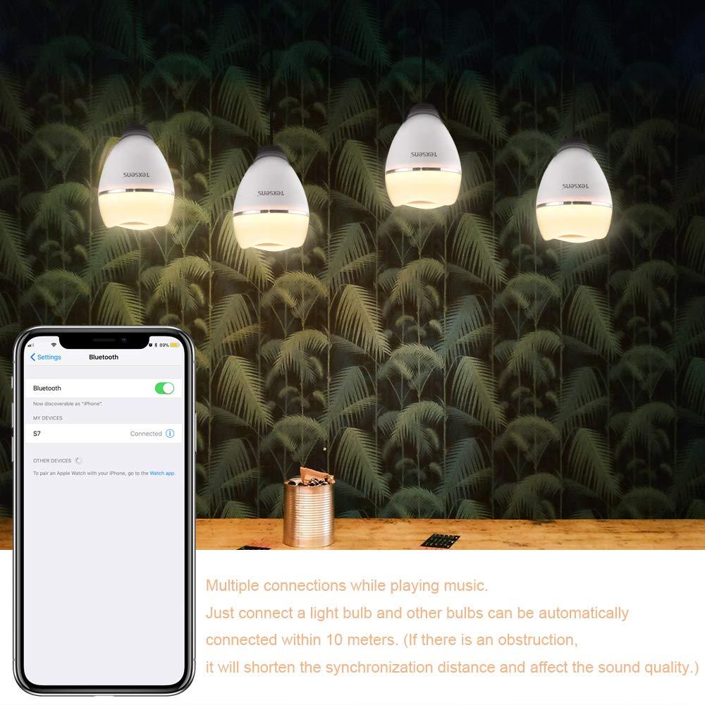 TEXSENS Bluetooth LED Gl/ühbirne Lautsprecher Lampe Multiple syncs Musik Birne 8W E27 RGB Dimmbare Farbwechsel Lampe mit APP Steuerung Licht blinkt als Musik geht