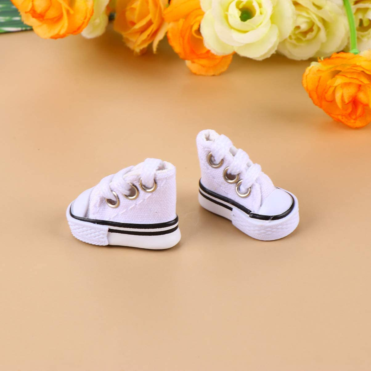 TOYANDONA 2 Pair Mini Sneakers Blue 3.5 cm Mini Canvas Shoes Finger Sneakers Toy Doll Sneakers