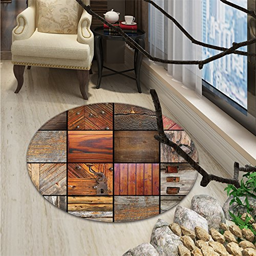 - Antique Round Rugs for Bedroom Collection of Different Wooden Architecture Elements Timber Door Key PrintOriental Floor and Carpets Chocolate Brown