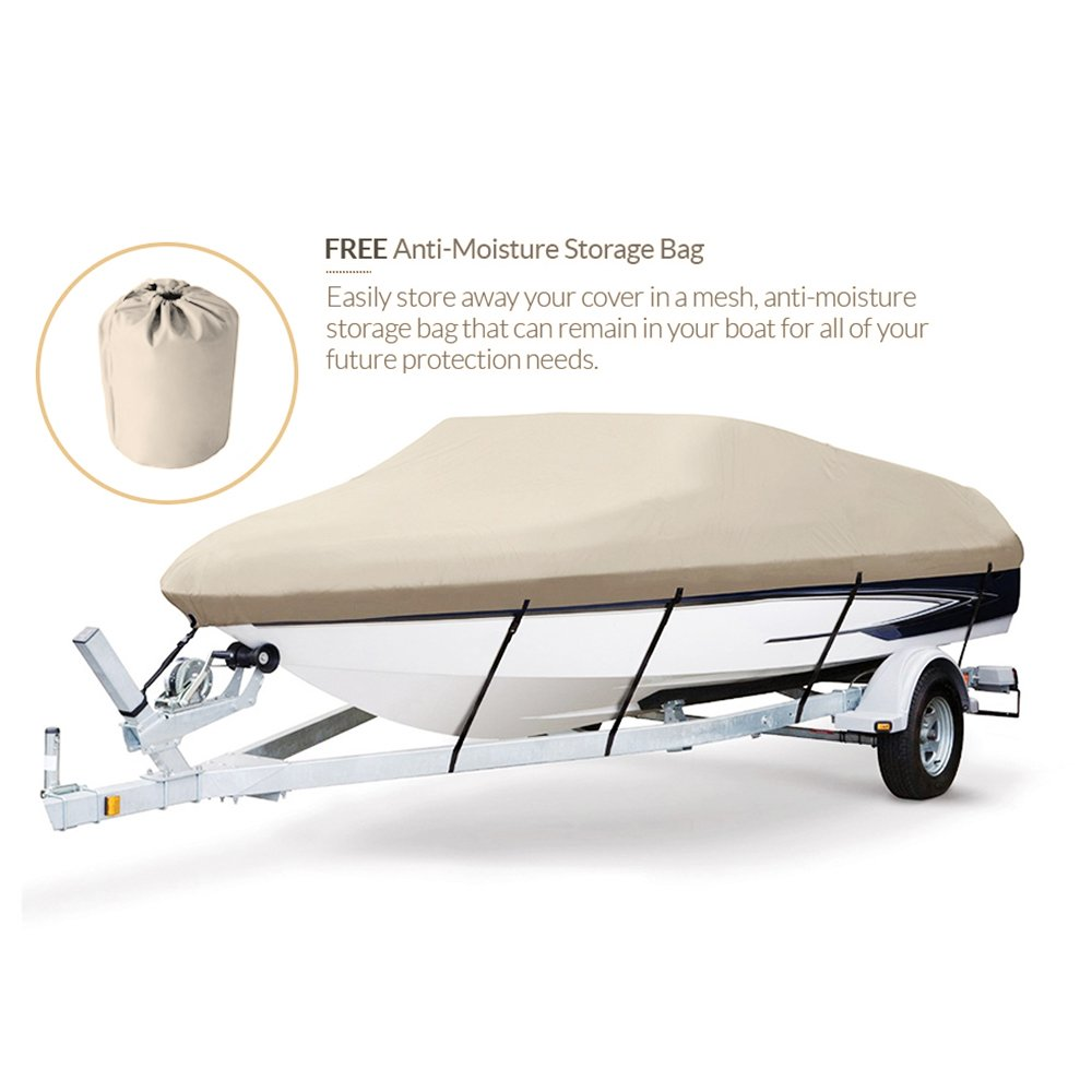 Seamander Trailerable Runabout Boat Cover Fit V-Hull Tri-Hull Fishing Ski Pro-Style Bass Boats Full Size