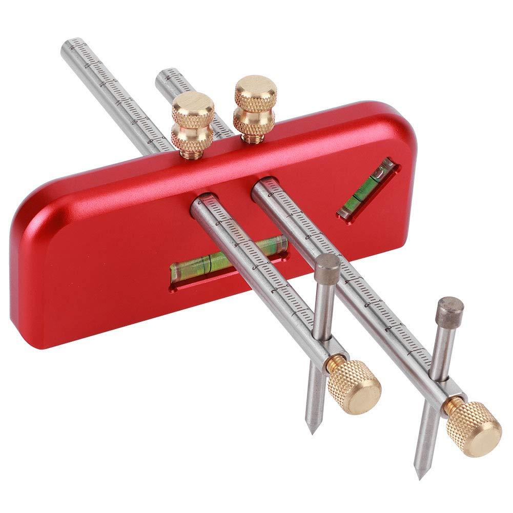Regla de mortaja, regla de calibrador de mortaja lineal de carpintería, herramienta de carpintero de aleación de aluminio de doble cabeza con ángulo de 45 °, con dientes antideslizantes y mano antides